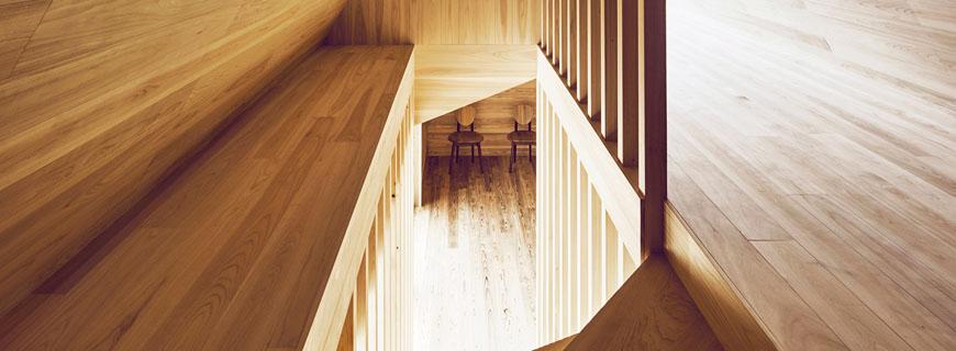 Treppe im Yoshino Cedar House