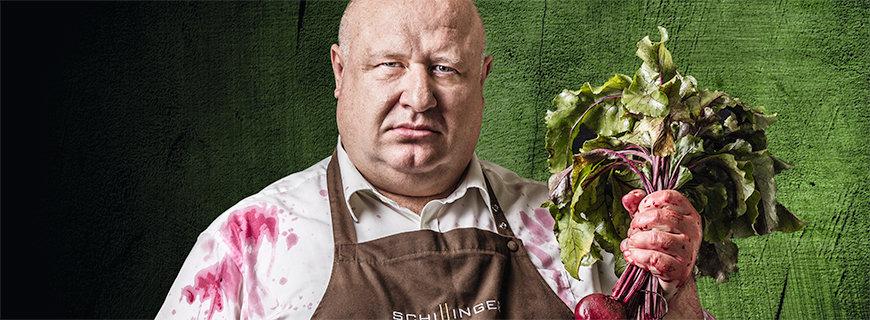 Charly Schillinger als veganer Metzger
