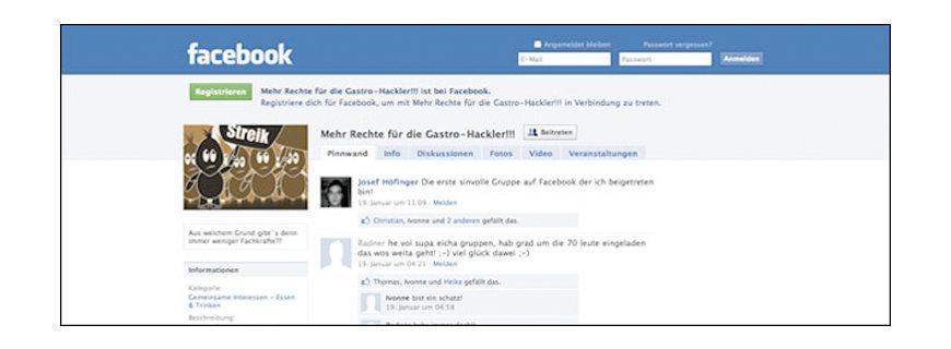 Die Facebook Streik Seite der Gastro-Hackler