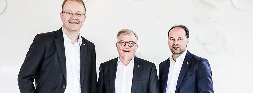 Manfred Hayböck, Geschäftsführer Trangourmet Österreich GmbH,Hansueli Loosli, Verwaltungsratspräsident der Transgourmet Holding AG undThomas Panholzer, ebenfalls Geschäftsführer Transgourmet Österreich GmbH