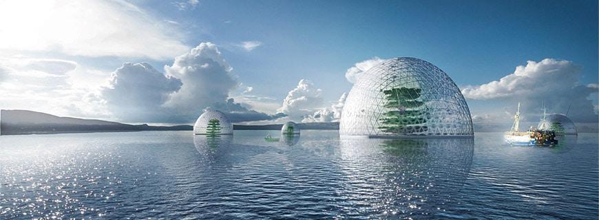 Ozean meets Gewächshaus: Innerhalb der Kugel wird ein eigenes Ökosystem künstlich simuliert, das mit aufbereitetem Meerwasser betrieben wird. Ziel ist es, Menschen, die am Meer leben, mit Lebensmitteln zu versorgen – platzsparend und energiearm.