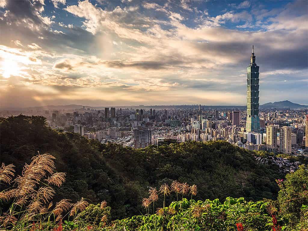 Die Skyline von Taipeh