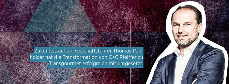 Porträt von Thomas Panholzer, Geschäftsführer von Transgourmet Österreich.