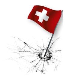 eine schweizer Fahne verursacht einen Sprung im Glas