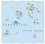 eine Karte der Seychellen im indischen Ozean