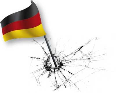 Deutschlands Fahne verursacht einen Sprung im Glas