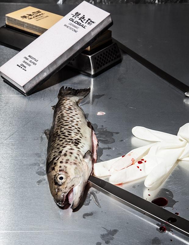 ein Fisch wird ausgenommen