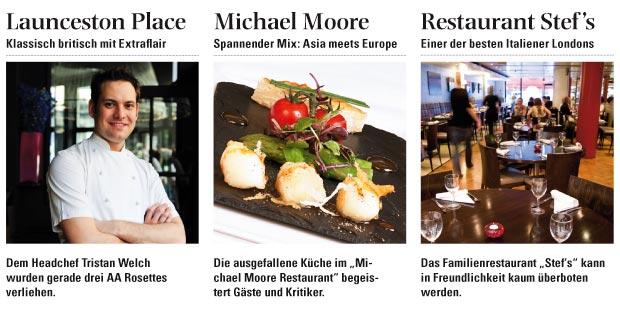Collage bestehend aus Launceston Place, Michael Moore Restaurant und Restaurant Stefs