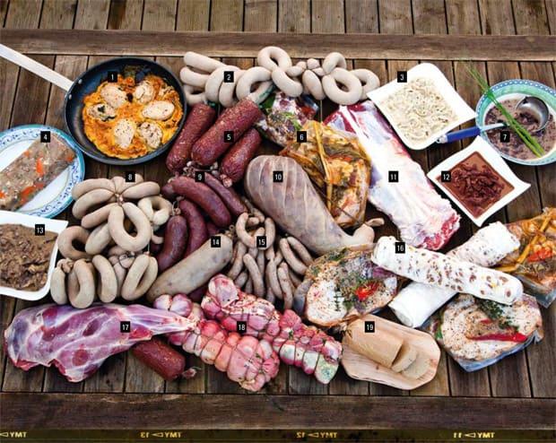 Ein Tisch voller Fleisch
