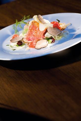 Rotbarbenfilet auf Fenchelgemüse mit Sommertrueffeln