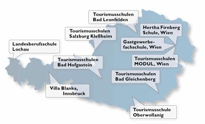Grafik der Hotelfachschulen in Österreich