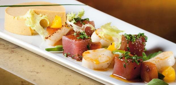 Thunfisch & Jakobsmuscheln mit Kürbismousse und Kürbis-Kräuter-Salat