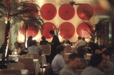 ein gut besuchtes Restaurant mit indoor palmen