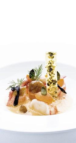 Bretonischer Hummer mit Kürbis und Maroni in Sauternessauce