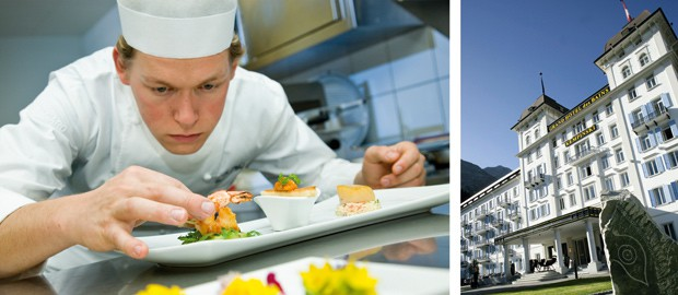 Mattias Roock konzentriert in der Küche des Kempinski Grand Hotels