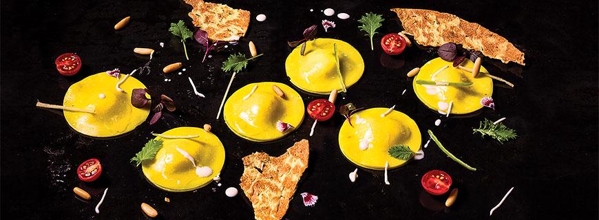 "Manish Mehrotra, ""Khandvi Ravioli, Mixed Cheese Mash, Khakra Crisp"""