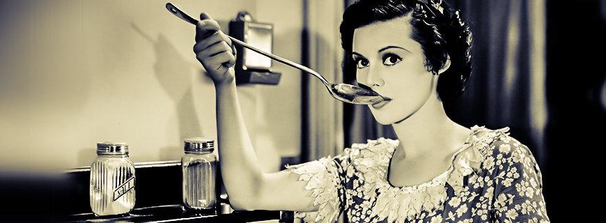 Retro Bild einer Frau mit Suppenkelle