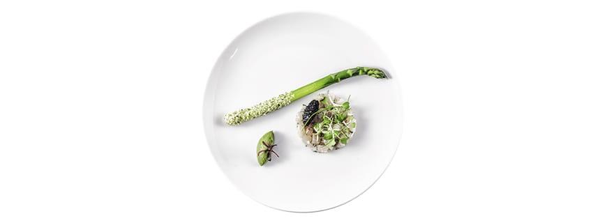 Shades of Green: Spargel mit Hanf, Hamachi, Osetra-Kaviar, Yuzu-Green-Mus, 5 Milligramm THC by Chris Sayegh